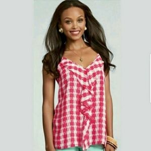 CAbi   Career Red White Gingham Strappy Tank